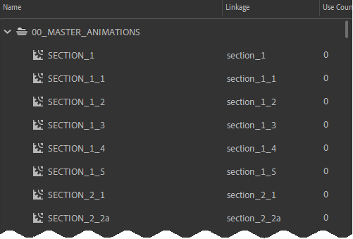Screenshot of Adobe Animate library with multiple animations, all of whose linkage name starts with 'section'